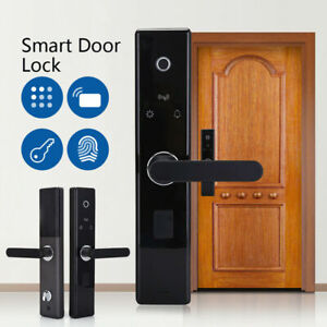 Black Digital Smart Fingerprint Door Lock Electronic Keyless Password Card Lock