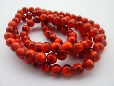 100 pce Round Orange Red Drawbench Glass Spacer Beads 8mm Jewellery Making Craft