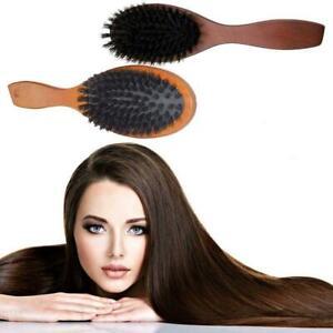 Natural Boar Bristle Hair Brush Comb Oval Anti-static Massage Scalp Paddle W8J3
