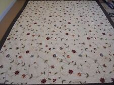 Nice Cream Whole Cloth w/Embroidered Flowers & Brown Frame Quilt