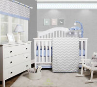 Forest Deer OptimaBaby Woodland 6 Piece Baby Nursery Crib Bedding Set Blue//White//Gray
