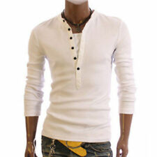 Cotton Blend Henley Basic Singlepack T-Shirts for Men