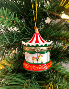 NEW Hinged Trinket Box Ornament Porcelain CHRISTMAS CAROUSEL Hand Painted