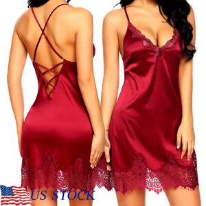 Red Sexy Lingerie Womens  Lace Halter Back Cross Babydoll Dress Satin Underwear