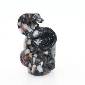 "Height 2.6"" 169g PLUM BLOSSOM STONE Carved Snake Crystal Skull,Crystal Healing"