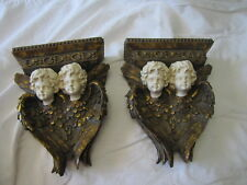 """Pair of Vintage-Styled Angel / Cherub Wall Shelves ~ 10 1/2"""" Tall x 8"""" Wide"""