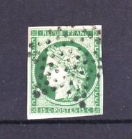 "FRANCE STAMP TIMBRE YVERT N° 2 b "" CERES 15c VERT FONCE 1850 "" OBLITERE TB T640"