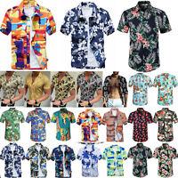 Men Hawaiian Shirt Cruise Tropical Luau Palm Beach Aloha Party Holiday Tops-4XL