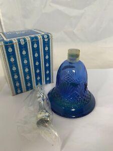 Avon Hospitality Bell Moonwind Cologne Blue Glass Bottle Decanter Vintage 1976