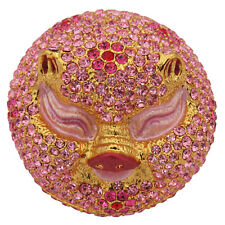 Pink Pig Head Trinket Box  Figurine With Swarovski Elements Crystals