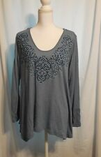 Live & Let Live Plus Top Size 1X $54 Blue Thermal Weave Scroll/Stud Front NWT