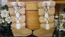 70's SNOWLAND Women's Beige Suede Leather TALL Boots Faux Fur Wedge Heel Sz 7