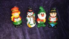 lot of 4 vintage unused Interpur Christmas candles carolers snowman Santa