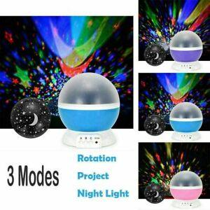 ROTATING LED LIGHT PROJECTOR KIDS BABY MOOD LAMP NIGHT GIFT STAR MOON SKY GALAXY