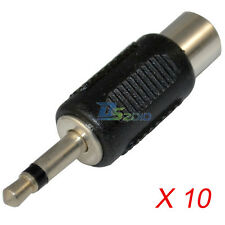 """10PCs 3.5mm 1/8"""" Male Mono Plug to Audio RCA Female Cord Cable Jack Adapter New"""