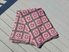 "New ListingPink and Grey Crochet Granny Square Blanket Throw Afghan Huge 80"" x 60"" Gray"