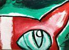"ACEO Original ""Watching Cat"" Acrylic 2.5 x 3.5 Painting Samantha McLean"