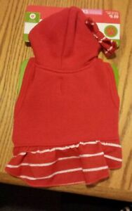 Dog Christmas Holiday Dress XS up to 10 lbs Red & White w/Bow & Hood NEW!