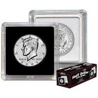 Box 25 BCW 2X2 COIN SNAP - HALF DOLLAR - BLACK - Premium Long-term Storage Snaps
