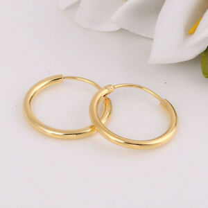 24k Gold Filled Small Endless Hoop Earrings for Ears, Cartilage, Nose or Lips