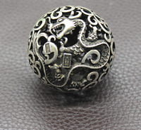 Old Chinese Tibetan silver Dragons and phoenixes Handball Round ball