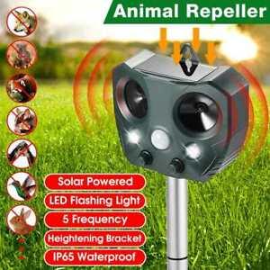 Solar Power Ultrasonic Repellent Scarer Deterrent Ultra Dog Fox Cat Pest Animal