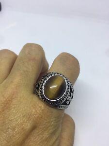 Vintage Silver Stainless Steel Genuine Tiger's Eye Size 13 Men's Cross Ring