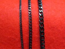 "16""-50"" 3/5/7MM   STAINLESS STEEL BLACK CUBAN CURB LINK CHAIN NECKLACE-BLACK"