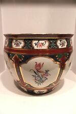 Beautiful Asian Hand Painted Porcelain Floral Planter/Fishbowl Gold Gild 16""
