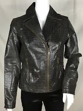 Live A Little Womens Brown Leather Moto Jacket Size S Croc Finish Zipper Cuffs