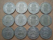 Lot of 12 pieces shilling United Kingdom 1947-1966 year. Different