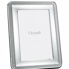 """CHRISTOFLE PERLES 8"""" X10"""" PICTURE FRAME #4256004 BNIB CLEAR SILVER PLATED F/S"""