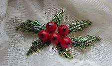 VINTAGE MONET CHRISTMAS RED HOLLY BERRIES BROOCH PIN
