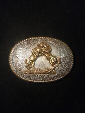 VINTAGE Crumrine Silver Plate Bronze Belt Buckle Horses Western Cowboy