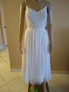 Adrianna Papell Ivory Beaded Tulle Tea Length Wedding Dress Size 6          CT02