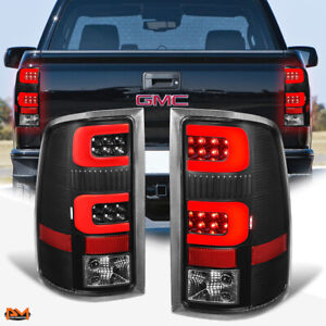 For 07-14 GMC Sierra Red 3D LED C-Bar Tail Light Rear Brake/Reverse Lamp Black
