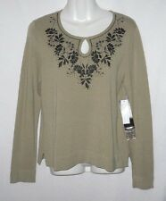 NEW WOMEN'S JONES NEW YORK EMBELLISHED FLORAL LONG SLEEVE TOP SIZE M $89 MSRP