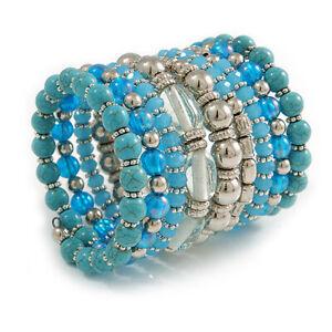 Glass/ Ceramic/ Acrylic Beaded Wide Flex Bracelet/ Blue/ Silver/ Clear/65mm Tall