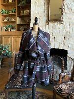 Southwest Navajo Indian Blanket Jacket Coat Wool Blend Lined 2x