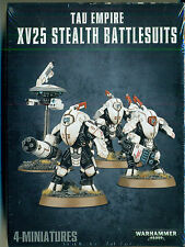 Warhammer 40K Tau Empire XV25 STEALTH BATTLESUITS (3 man team) & Drone, New