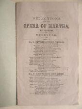 1862 Martha Opera by Flotow rare antique libretto original softcover covers book