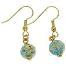 GlassOfVenice Murano Glass Golden Glow Earrings - Aqua