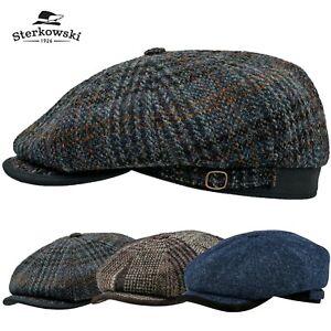 Sterkowski MALONE Harris Tweed Flat Cap Gatsby 8 Panel Wool Gatsby Biker