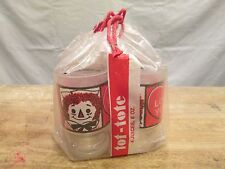 Set 4 Orig Pkg Raggedy Ann Andy I Love You Anchor Hocking Glasses Juice Tumblers