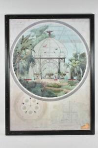 k67l17- Druck nach Aquarell, Architektur/ Wintergarten mit Pavillon