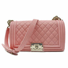 CHANEL Pink Quilted Caviar Medium Boy Flap Bag A67086