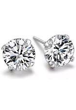 2 Piece Men's Boys Girls Silver Diamante Stud Earrings Crystal Ear Stud