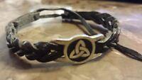Irish Pewter Black Trinity Leather Woven Adjustable Bracelet