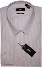 NEW HUGO BOSS BLACK LABEL PALE PINK WHITE NAVY BLUE STRIPE DRESS SHIRT 16 36/37