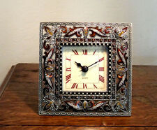 PEWTER, CRYSTAL, ENAMEL Table CLOCK, GOLDS/AMBERS     EASY TO READ